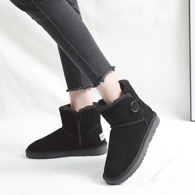 新款真皮雪地靴女短筒加厚冬季加绒保暖雪地棉纽扣平底女鞋子3352