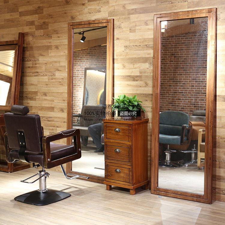 理发椅理发店镜台发廊专用美发镜子落地单面实木全身镜剪发凳复古