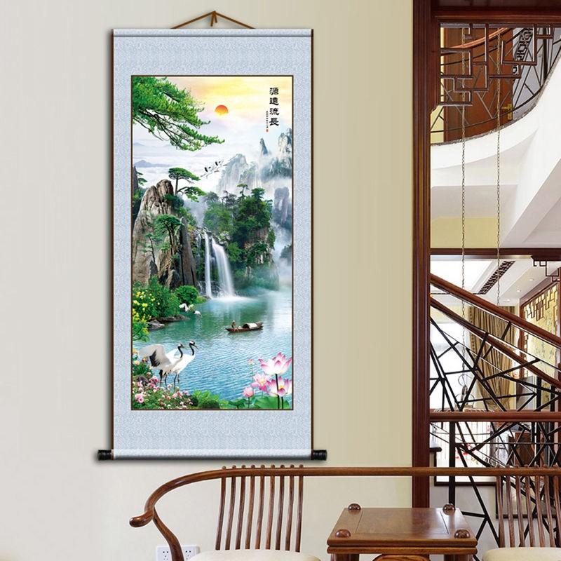 玄關客廳背景國畫中國山水風景卷軸絲絹鴻運當頭九魚圖裝飾掛畫