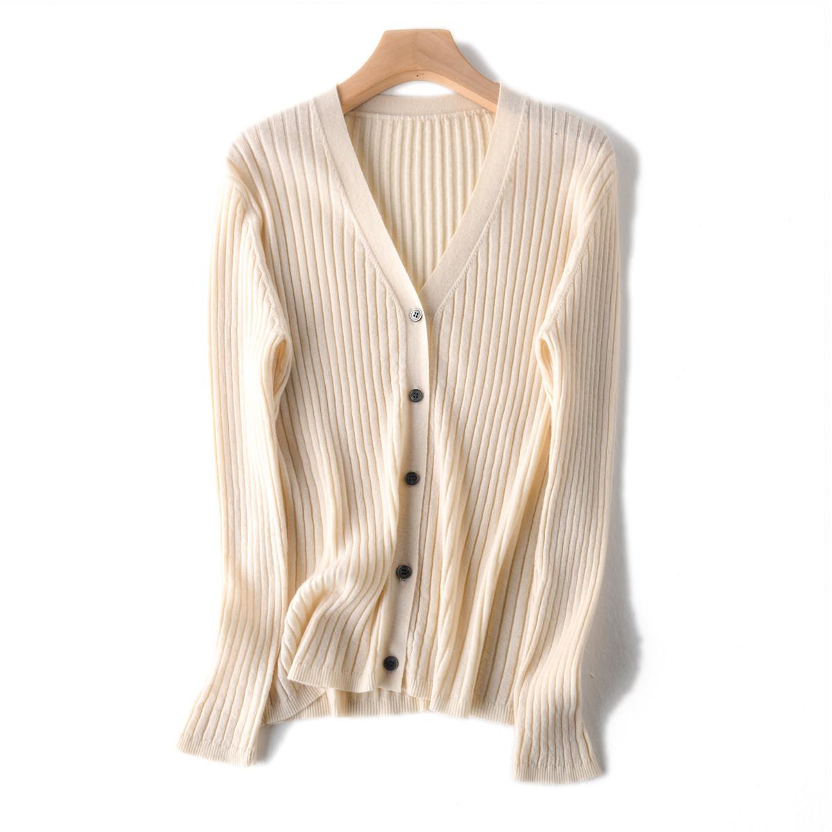 BI入精品 80支JI细羊毛 显瘦坑条修身V领针织开衫女2019春夏薄款