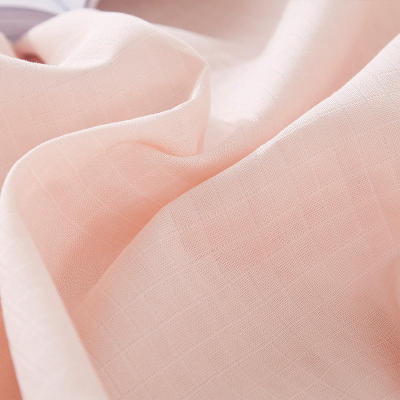 梦洁家纺纯色素色绣花双层纱纯棉ins学生三/四件套床单少女心套件