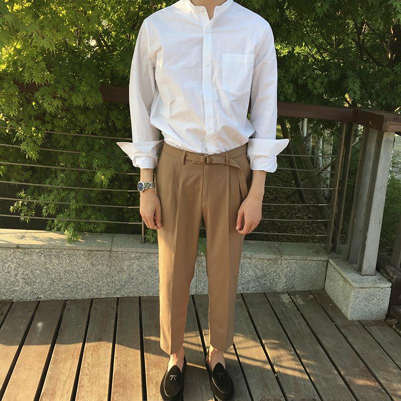 夏季 纯色绅士金属扣裤脚韩版休闲西裤九分裤男松紧裤阔腿裤男长