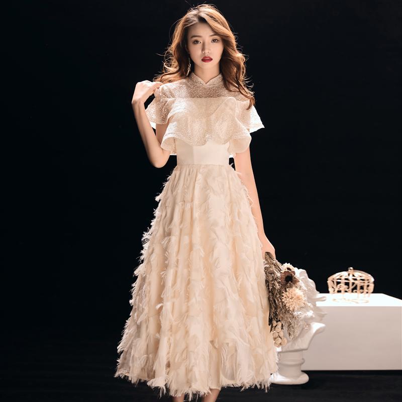 晚礼服女2019新款宴会优雅中长款主持人新娘敬酒服结婚礼服伴娘服