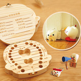 Boys and girls lovely deciduous tooth box storage box storage box wood house children lanugo baby tooth collection box