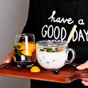 燕麦杯早餐杯女大容量日式带盖勺马克杯牛奶杯钢化玻璃杯麦片碗 - 2