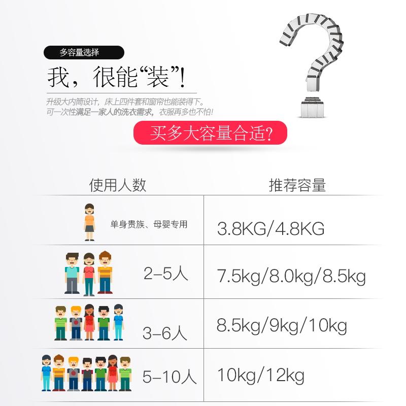 志高7.5KG/8.5洗衣机全自动家用小型宿舍婴儿童迷你烘干洗脱一体