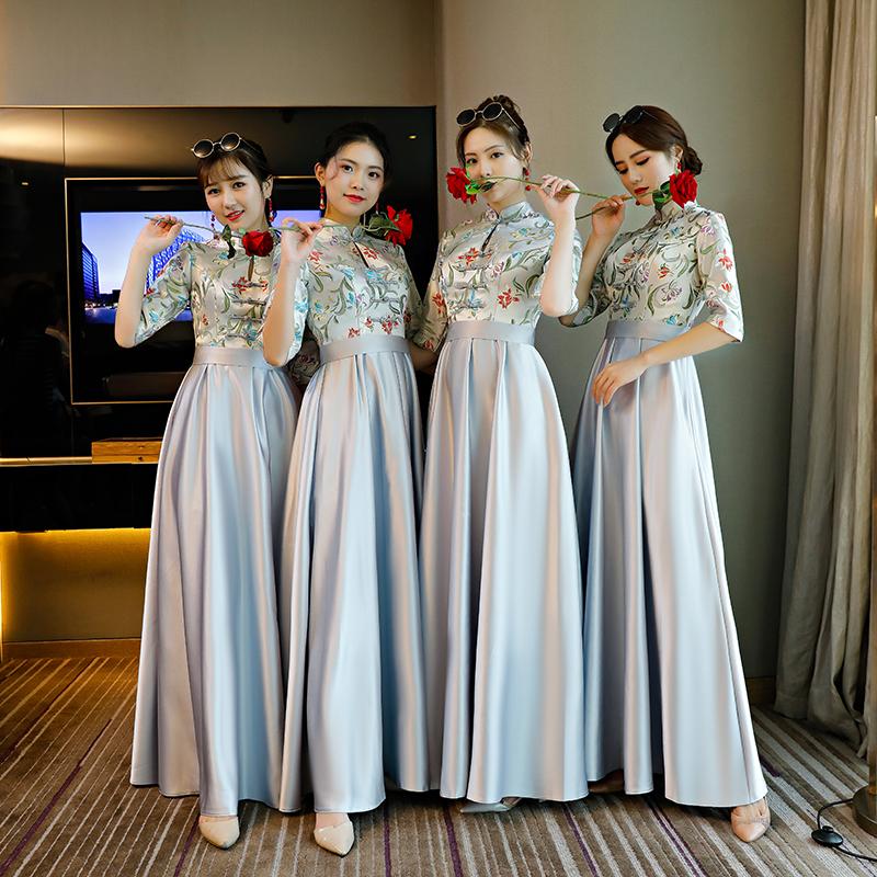 榭朵中式伴娘服2018秋新款长款灰色复古姐妹团伴娘礼服团体演出服