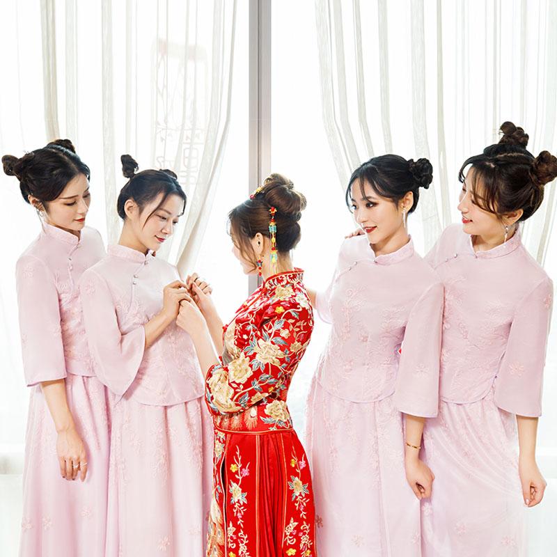 2019新款伴娘服中式中国风伴娘团姐妹裙礼服女紫色长款显瘦复古