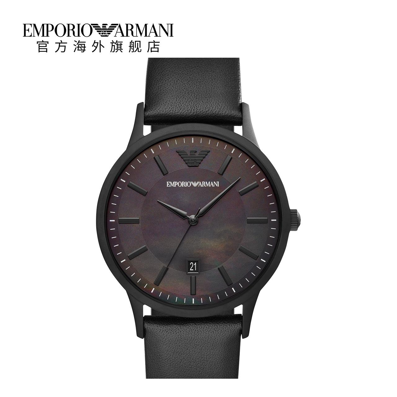 【官方】Armani阿玛尼正品新款 简约时尚黑色皮带手表男AR11276