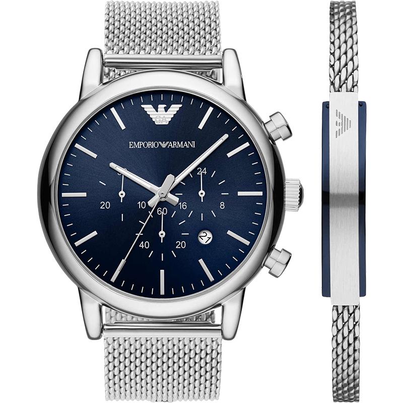 Armani阿玛尼正品时尚潮流钢带手表男 个性炫酷手镯套装AR80038