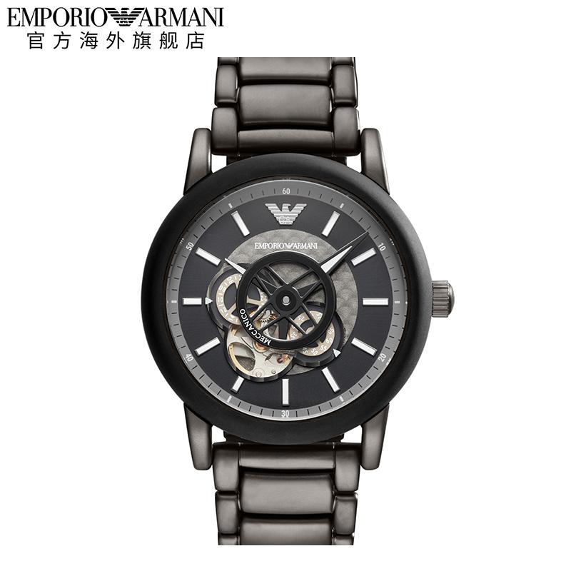 【正品】Armani阿玛尼男黑色时尚潮流钢带机械手表AR60010