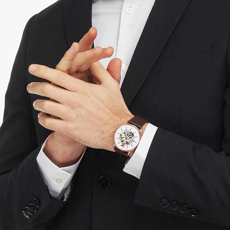 Armani阿玛尼正品2020新款机械表 棕色皮带商务男士手表AR60027
