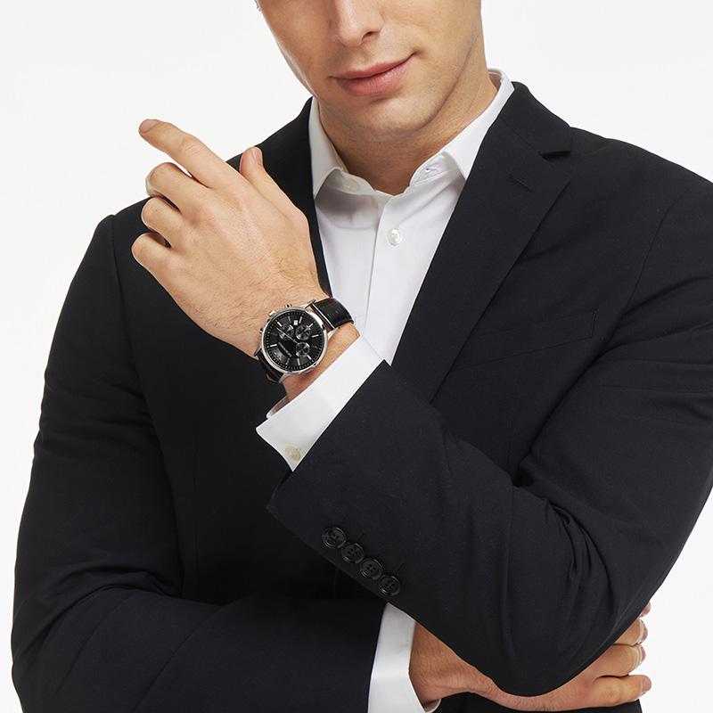 【官方】Armani 阿玛尼正品皮带休闲手表男 圆形绅士石英表AR2447