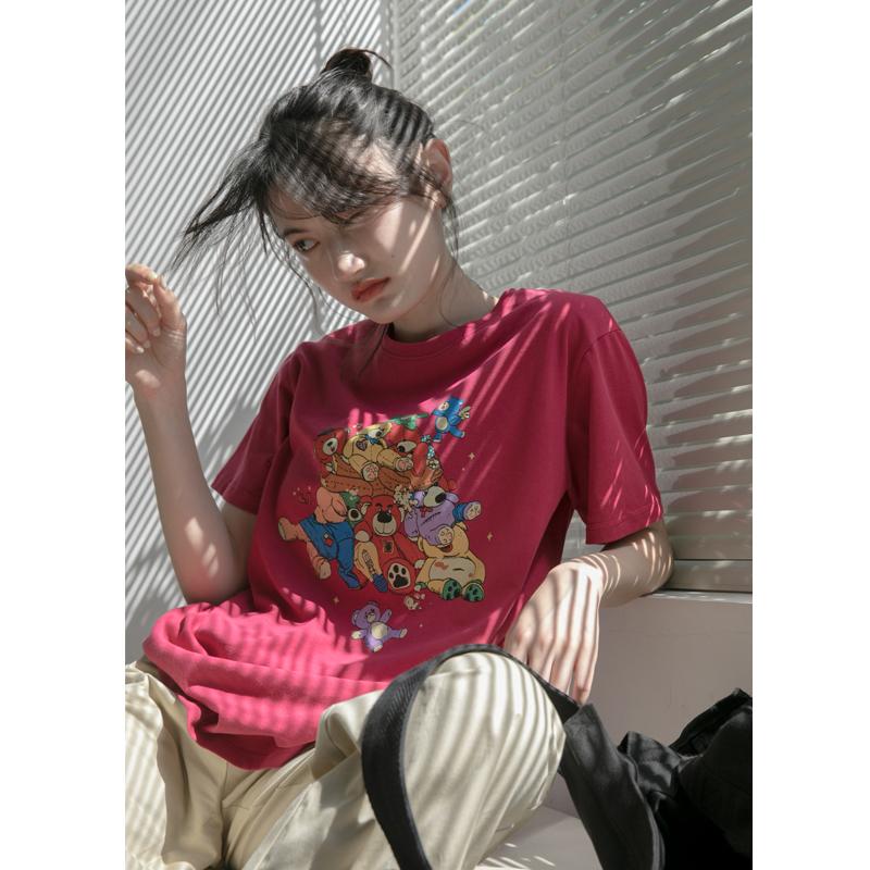 你好卡农 原创小熊印花短袖t恤女2021夏季新款韩版宽松圆领上衣潮