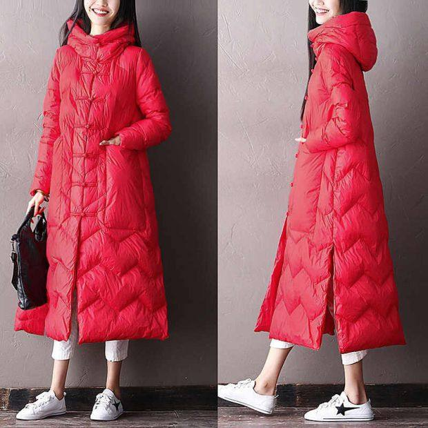 Anti-season clearance Chinese style literary retro A-line Chinese disc buckle plus fat down jacket female over-the-knee mid-length plus size