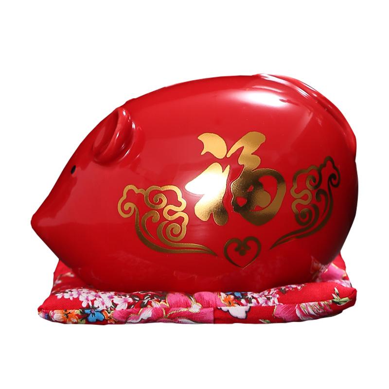 鼠年存钱罐创意陶瓷生肖储蓄罐红色老鼠卡通可爱储钱只进不出礼物