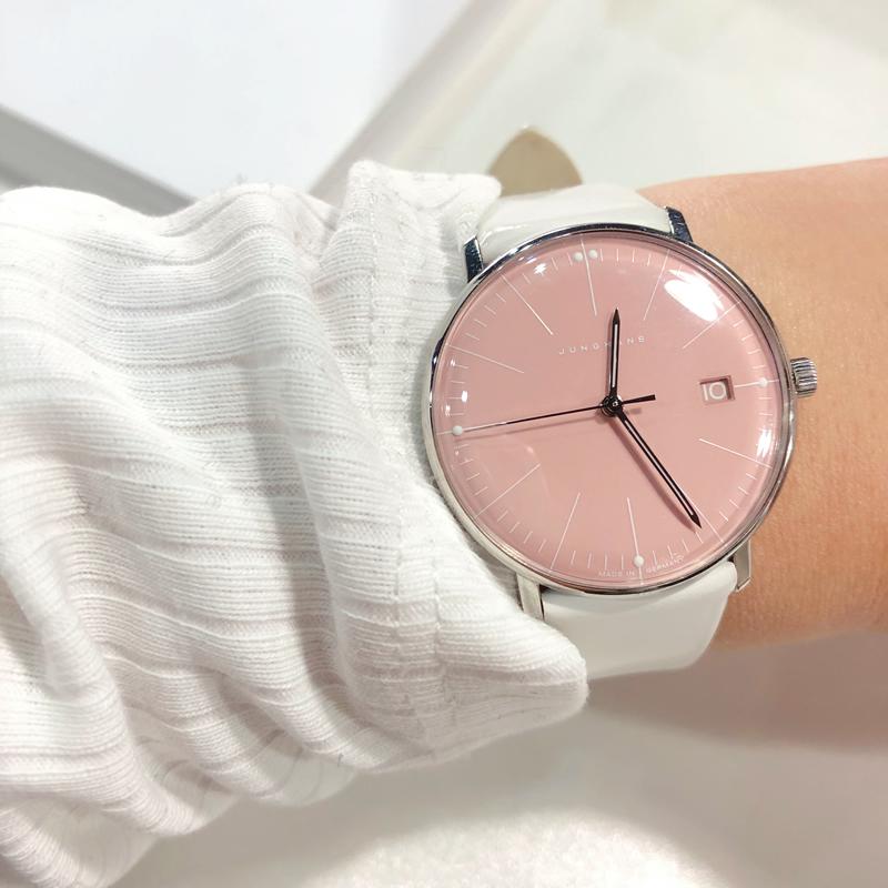 德国Junghans荣汉斯设计师手表女ins风商务休闲石英白色皮带女表
