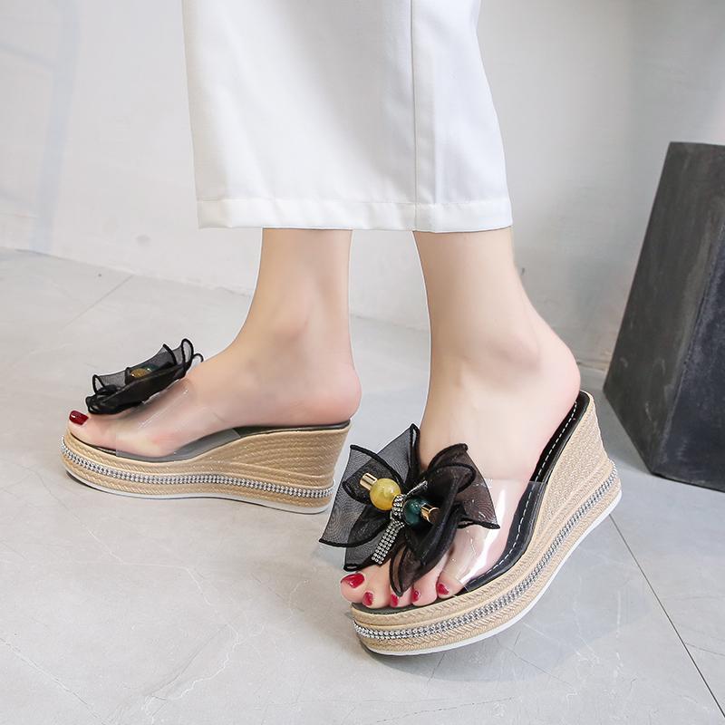 罗马坡跟凉鞋女高跟性感2020年夏新款时尚蝴蝶结厚底松糕拖鞋女鞋