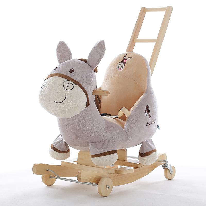 蓝鱼毛驴儿童两用音乐摇马婴儿玩具小木马宝宝实木摇摇车生日礼物