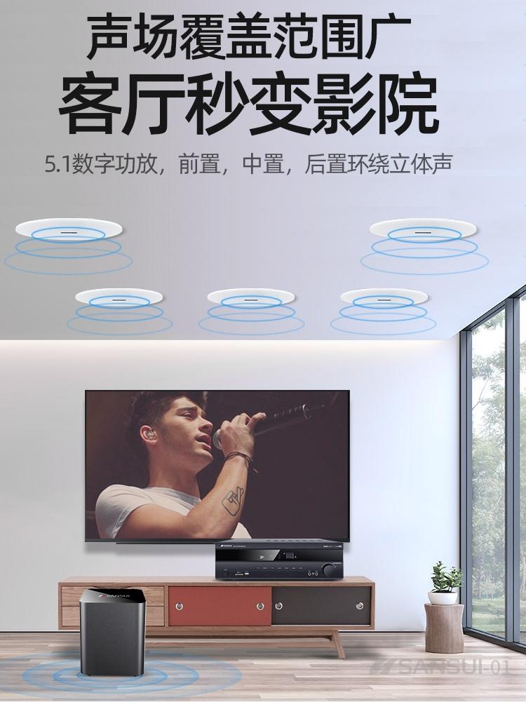 环绕嵌入式重低音蓝牙功放全套智能背景音乐设备 3D 歌客厅吊顶 K 家庭影院音响套装电视音箱家用 5.1 吸顶式 T3 山水