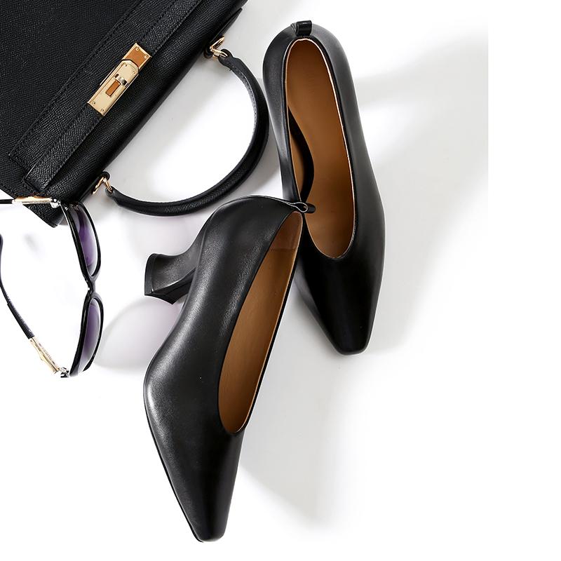 美低帮马蹄跟杏仁型小羊皮高跟鞋 优雅得体 SH0801249 ^戎美 ^