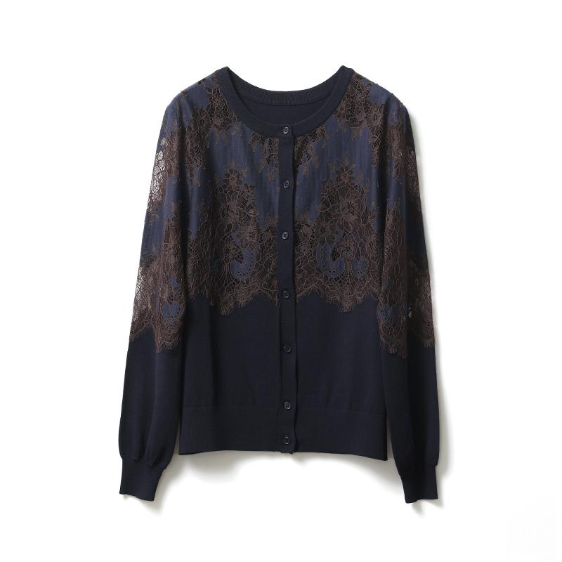法国列维斯蕾丝携春光而至唯美双色针织开衫 WT1222293 ^戎美 ^