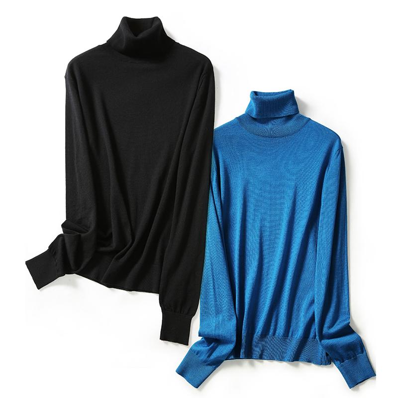 备高领打底针织衫 BI 一抹天空蓝精纺羊毛秋冬 ZZ0712047 ^戎美 ^