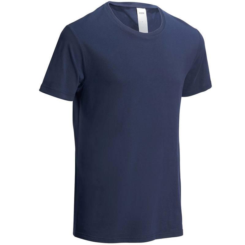 迪卡侬男士t恤纯色男圆领半袖宽松打底纯棉夏季透气健身短袖GYPML