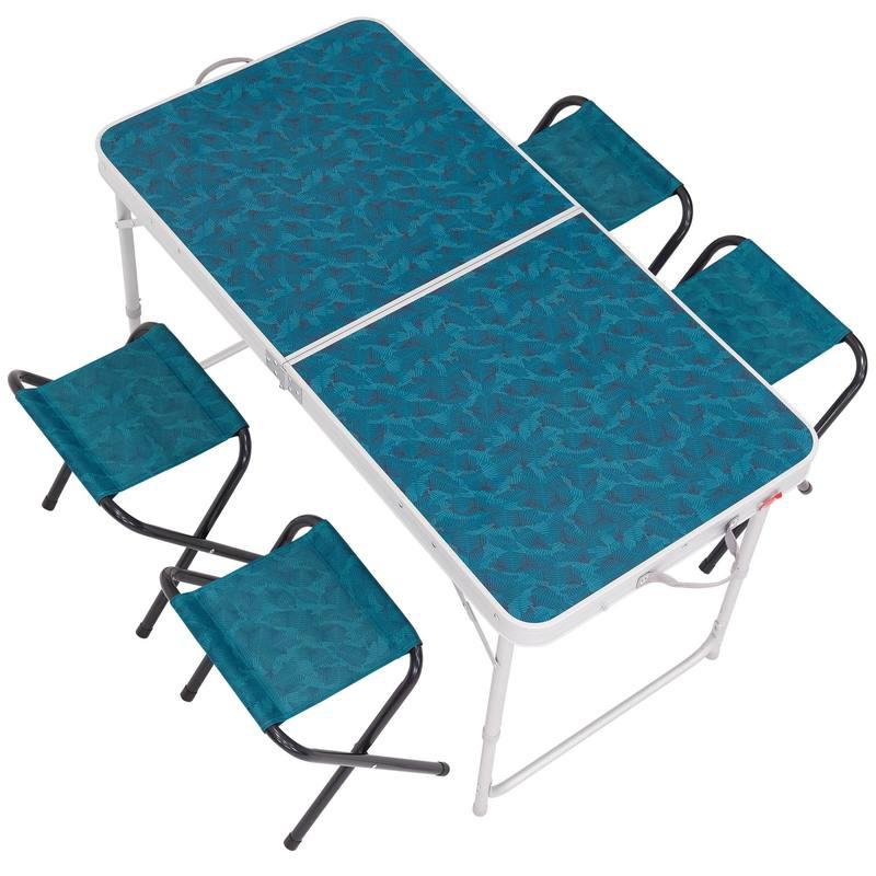 QUNC 人 6 4 迪卡侬折叠桌户外便携折叠桌椅露营简易餐桌套装