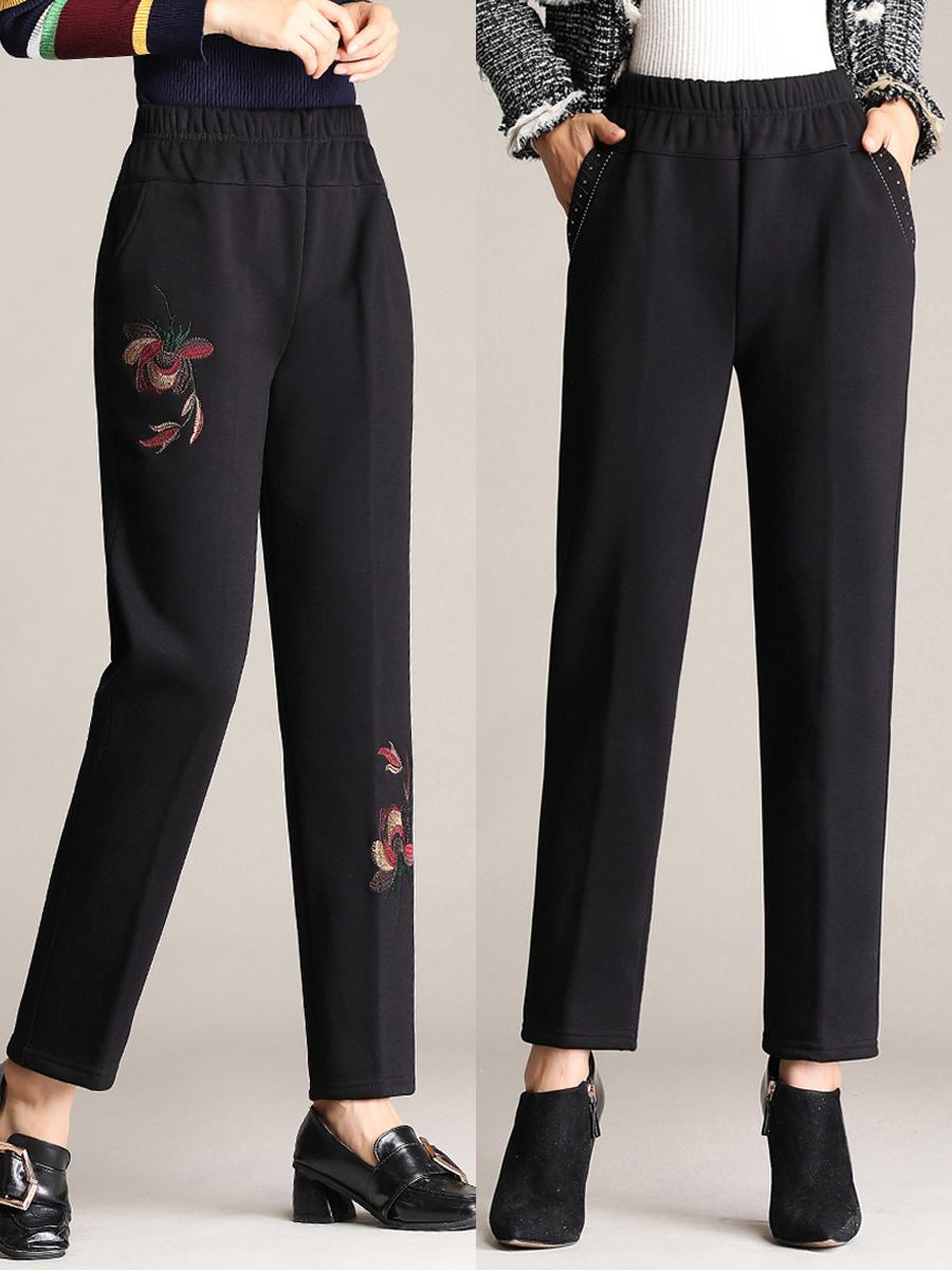 中老年人女裤春秋季新款直筒长裤宽松外穿中年妈妈裤子婆婆奶奶装