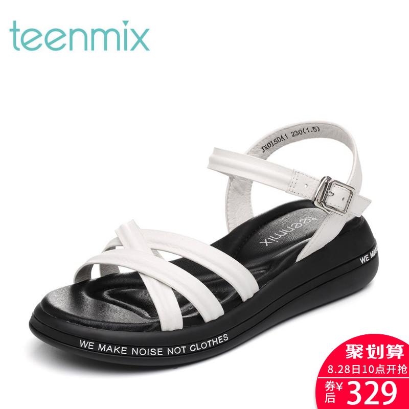JX015BL8 夏季摔纹牛皮条带厚底运动风女凉鞋 18 天美意