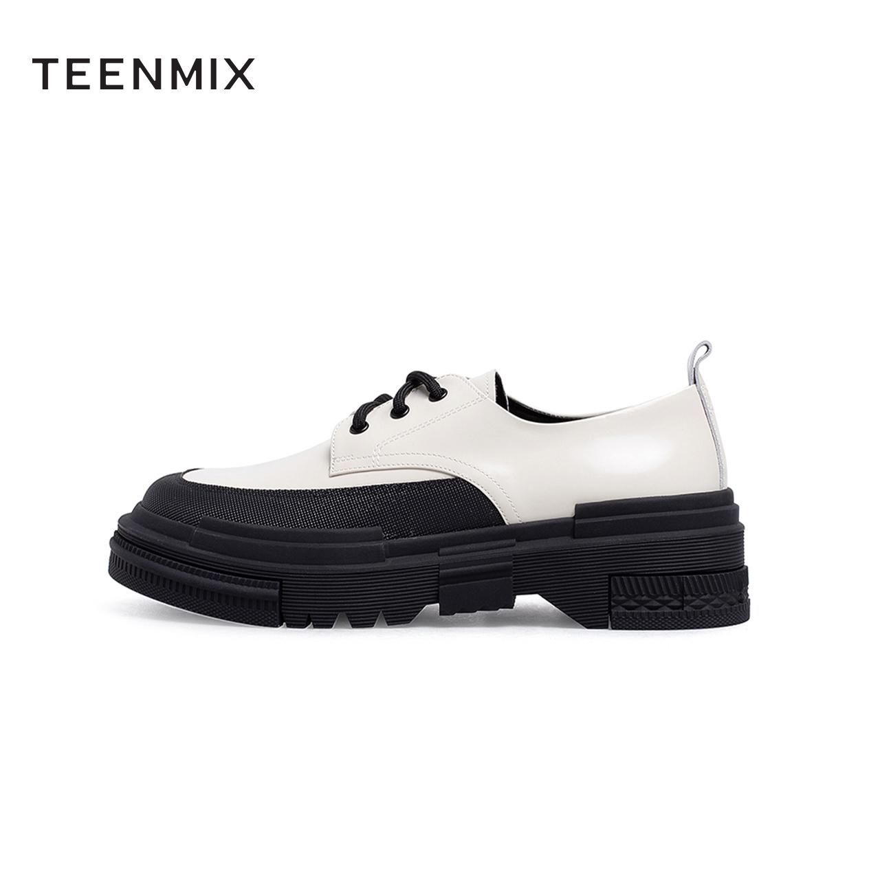 秋季新款商场同款酷冷学院风系带皮鞋女松糕底圆头单鞋 2021 天美意