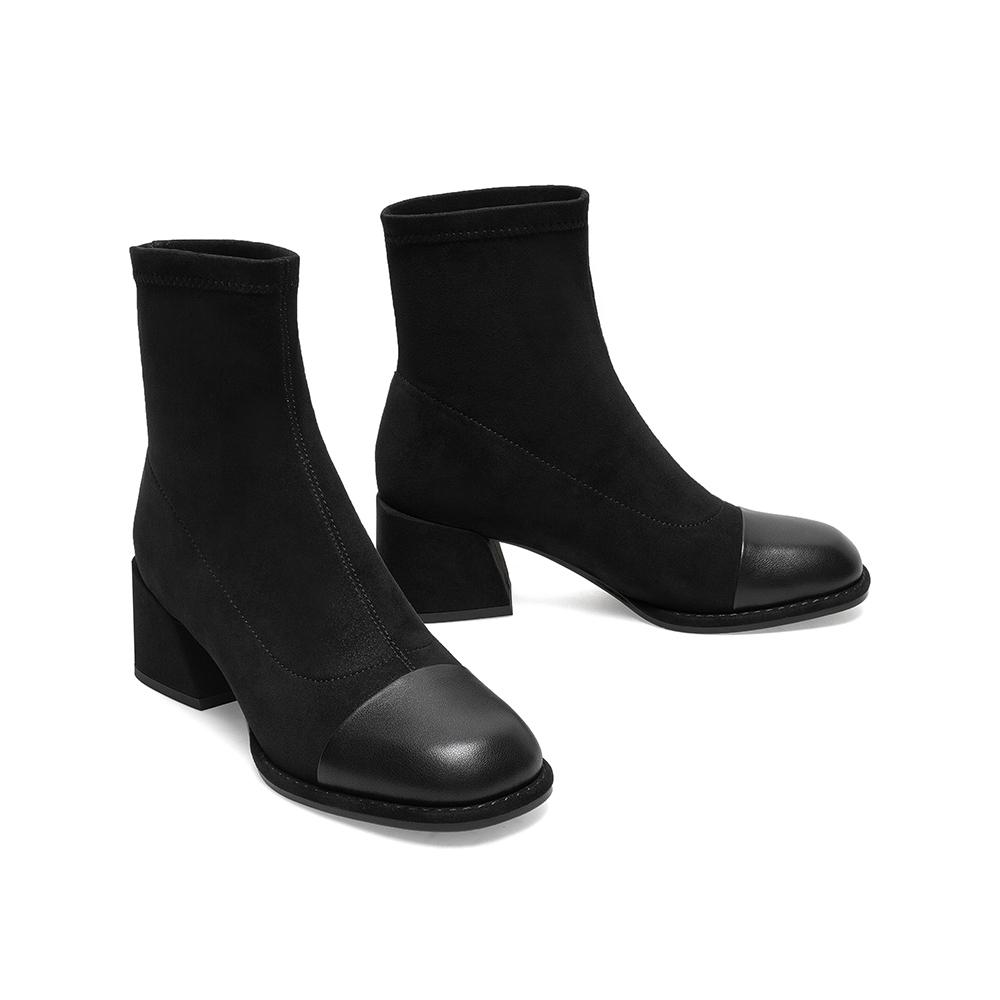 AY061DZ0 冬新款绒面弹力靴商场同款 2020 天美意高跟短靴女瘦瘦靴