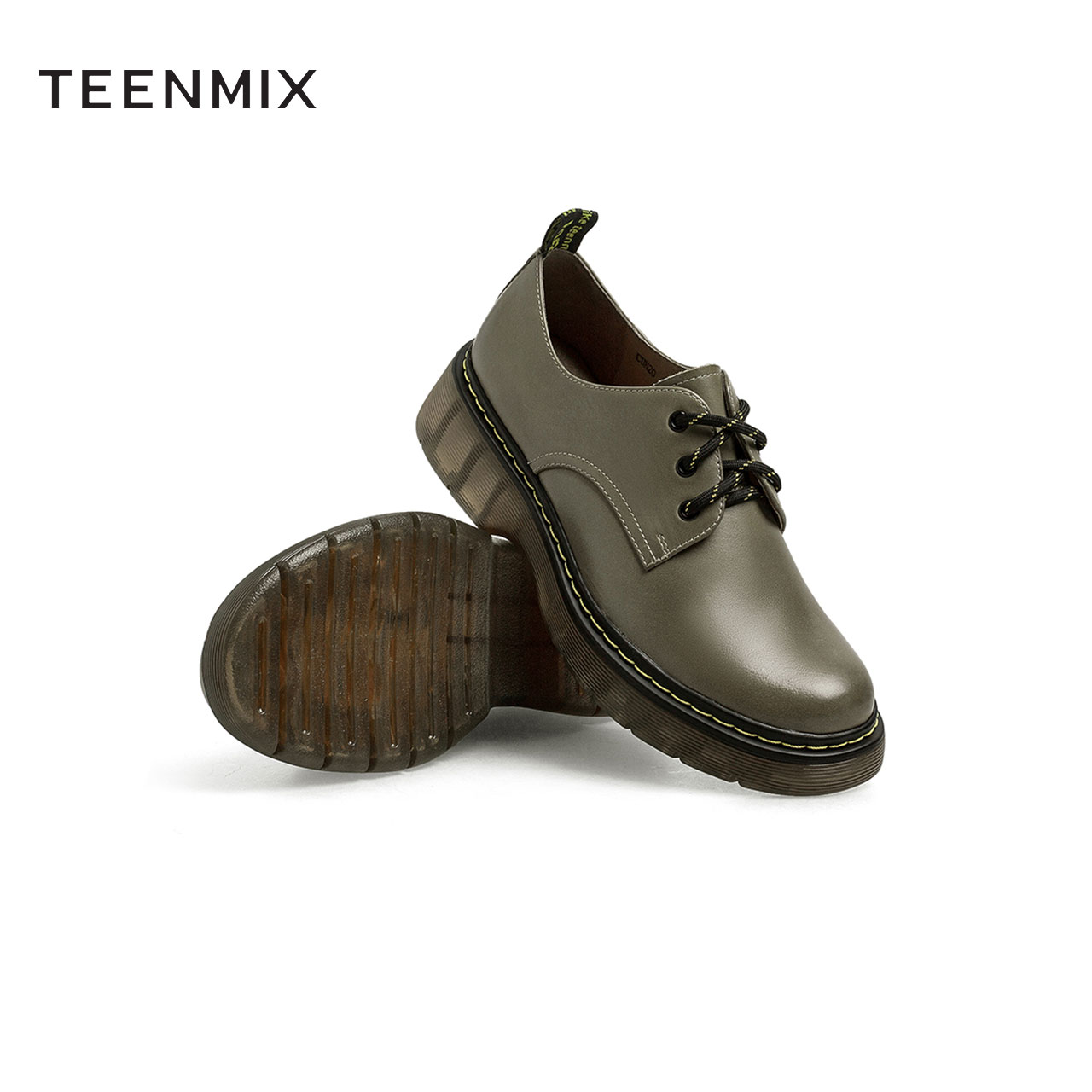 秋新款商场同款英伦风单鞋圆头休闲皮鞋 2021 天美意复古系带皮鞋女