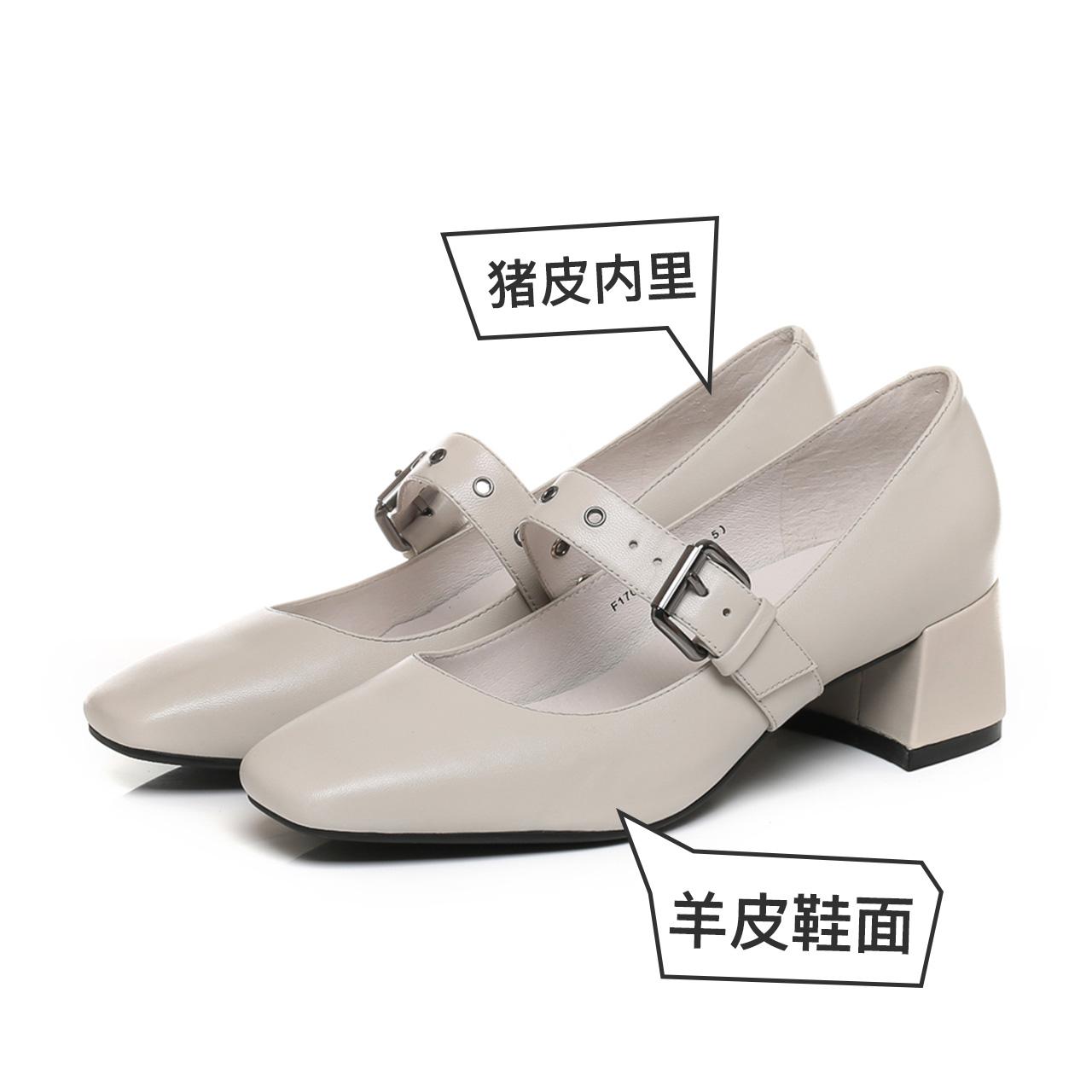 天美意秋季新品羊皮粗高跟复古浅口玛丽珍单鞋女鞋F170DCQ7