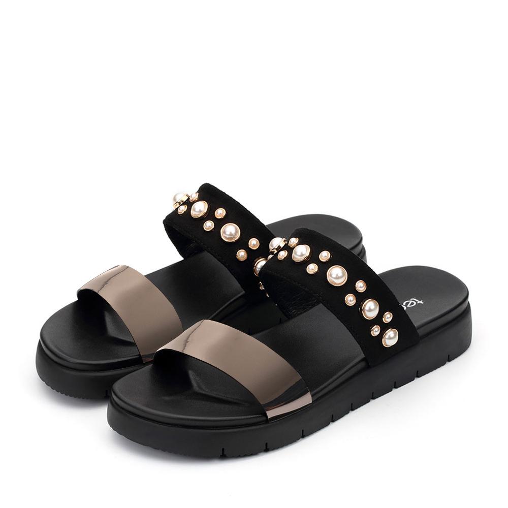 天美意夏季新款专柜同款一字型平底泳池拖女凉鞋拖鞋AP541BT7