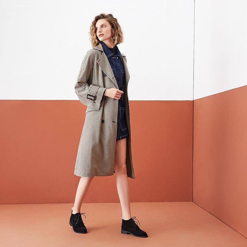 WAI01CM9 专柜同款工装女休闲方根绒面单鞋英伦风 2019 他她 Tata
