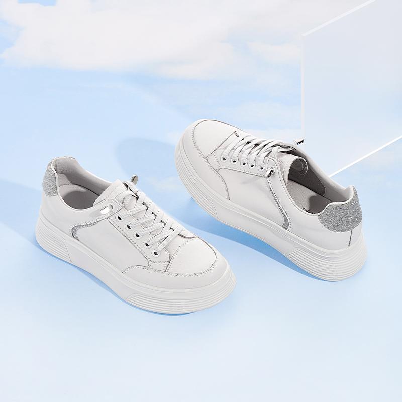WJN06AM1 春时尚撞尾小白鞋厚底女鞋百搭超火板鞋新 2021 他她 Tata