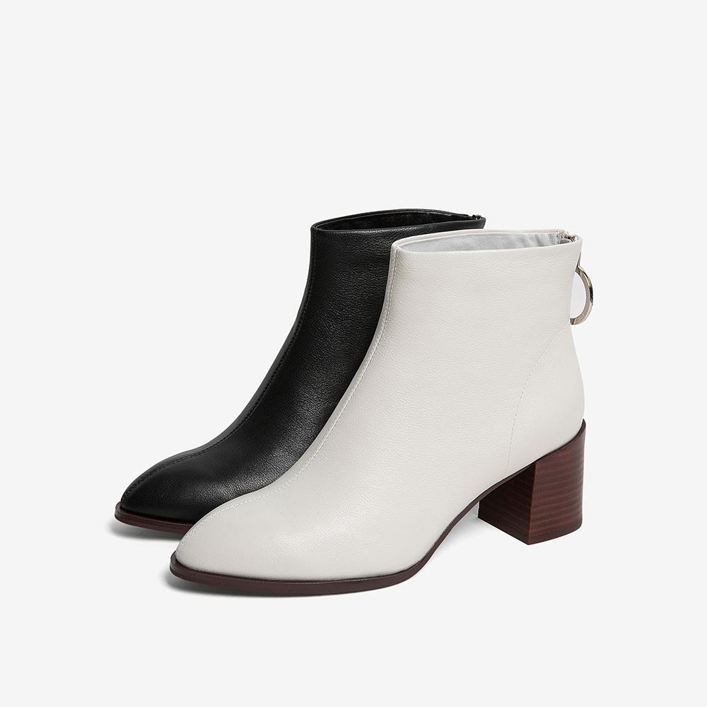 XEO01DD9 冬专柜同款牛皮革通勤拉链粗高跟女短靴 2019 他她 Tata