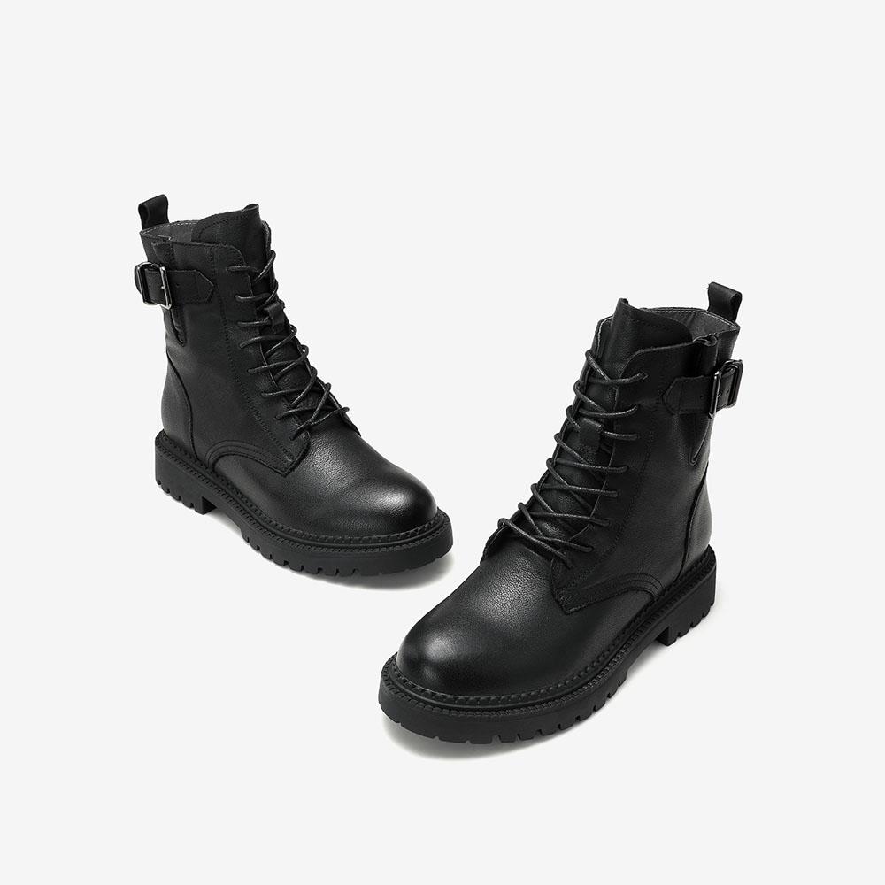 WJA01DD0 冬加绒 2020 机车靴短靴帅新款 ins 他她粗跟马丁靴女潮 Tata