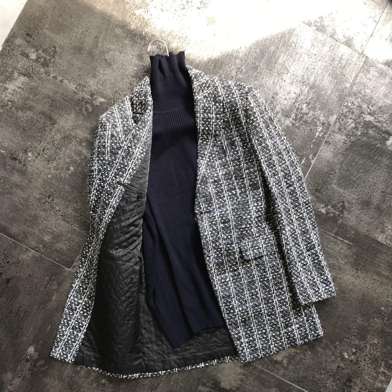容易刮线 精品 男士韩版秋冬西装领大衣外套中长款 粗犷复古织花