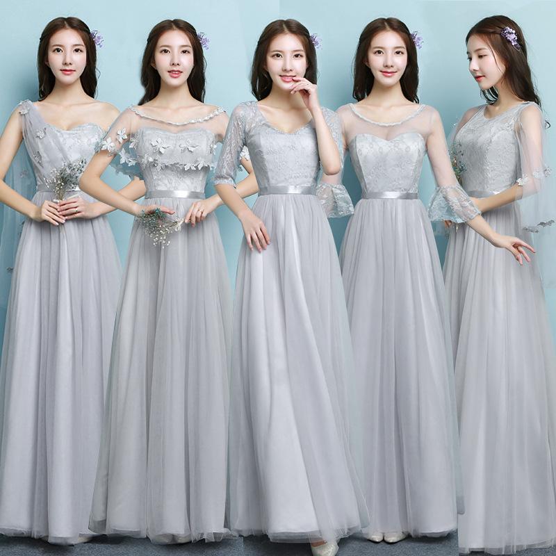 2019年韩版大码灰色香槟长款伴娘服姐妹礼服毕业闺蜜装连衣裙新女