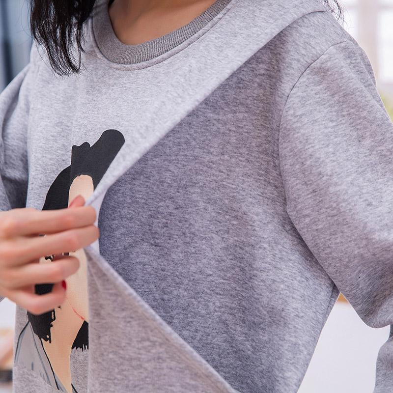冬季加绒厚哺乳卫衣中长款外穿时尚产妇喂奶装月子服加大码200斤