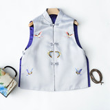 Elegant classic retro Chinese cheongsam female short section of new Chinese wind butterfly embroidery collar vest vest jacket