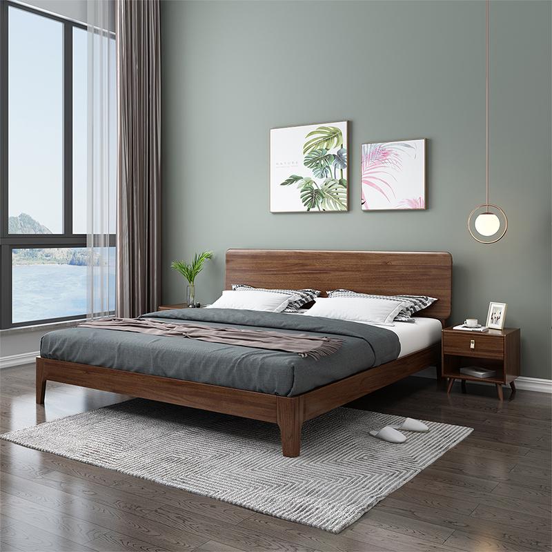 北欧胡桃木实木床现代中式卧室家具1.8米1.5单人床双人床小户型
