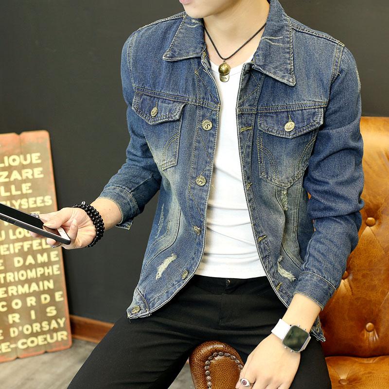 男士秋冬季牛仔外套男韩版潮流修身帅气衣服学生宽松加绒加厚夹克