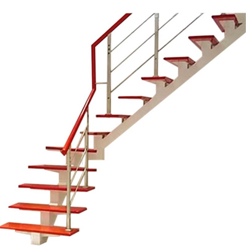 别墅整体家用楼梯室内复式楼梯阁楼钢木楼梯斜梁直梁楼梯实木踏板
