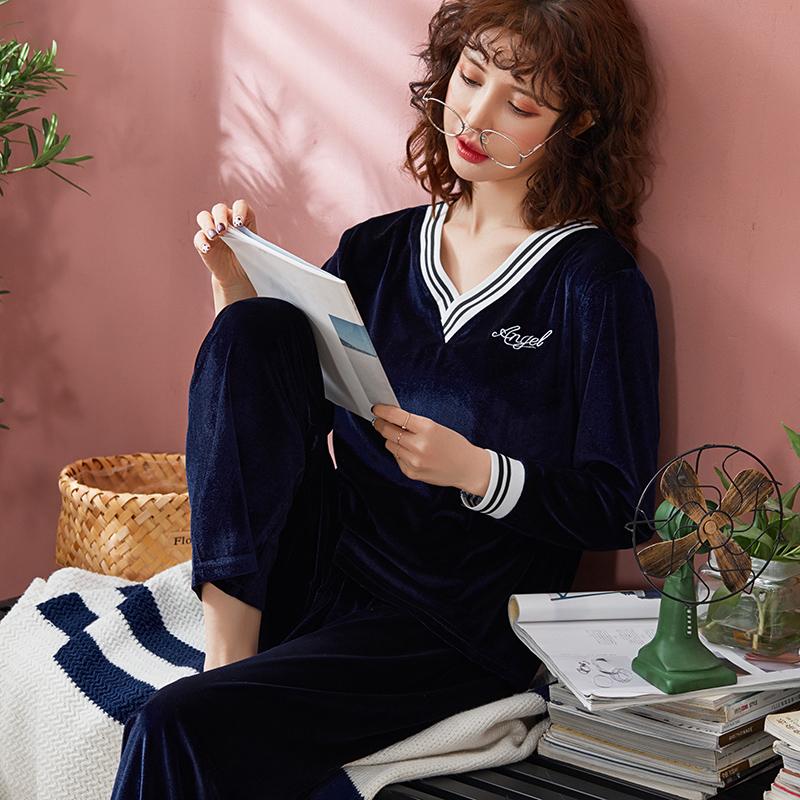 韩版金丝绒睡衣女士春秋季长袖薄绒大码v领宽松珊瑚绒家居服新款