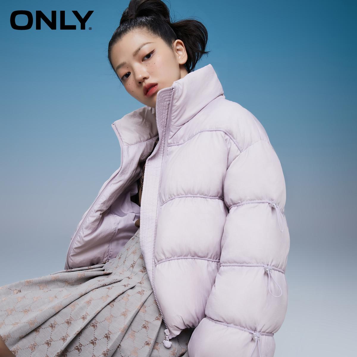 【双11预售】ONLY2021短款高领调节抽绳泡芙羽绒服女|121423002