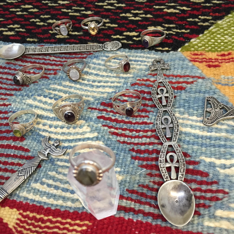 埃及 银戒指 水晶饰品 黄水晶 月光石 拉长石 女巫系列 阿努比斯